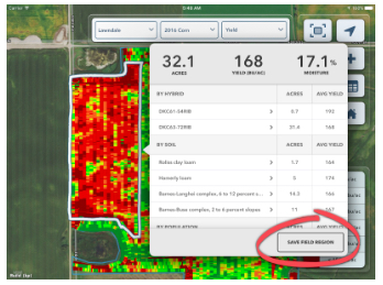 FieldView™ yield analysis tools make every field a test plot with field region analysis and reports.